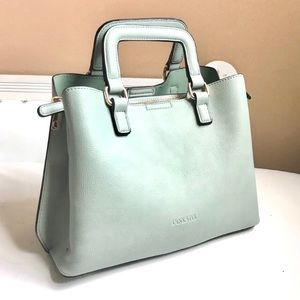 NEW VEGAN PEBBLED GREEN MINI TOTE REMOVABLE STRAP